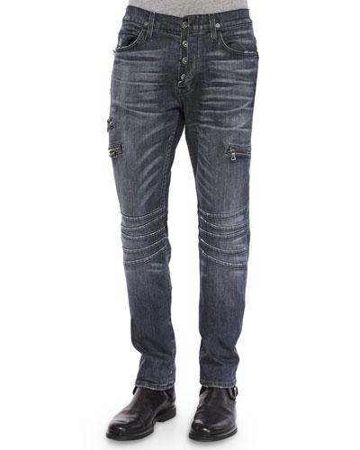Vicious Skinny Moto Denim Jeans, Dark Blue
