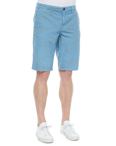 Havana Surf-Print Linen/Cotton Shorts, Aqua