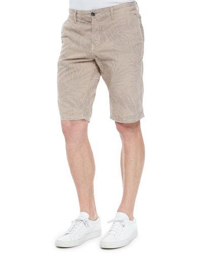 Havana-Print Linen Shorts, Taupe