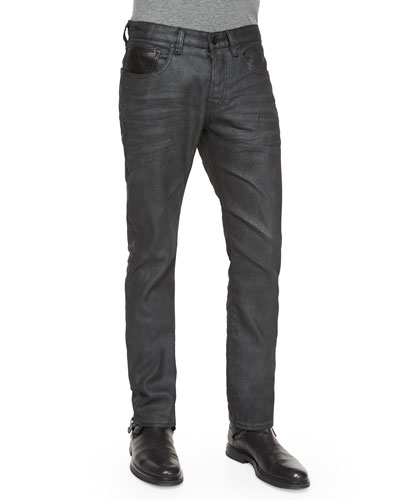 Glove Coated Slim-Fit Denim Jeans, Black