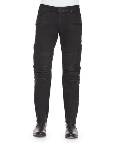 Coated 3D Moto Slim-Fit Jeans, Black