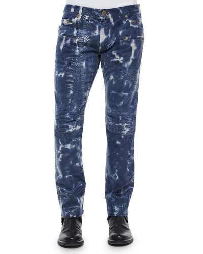 Motard Tie-Dye Dragon-Printed Moto Jeans, Blue