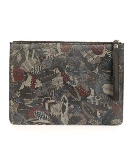 Salvatore Ferragamo Feather-Print Travel Document Holder, Multi