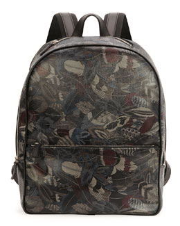 Plume Feather-Print Backpack, Multi