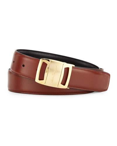 Gold Vara Reversible Buckle Belt, Brown/Black
