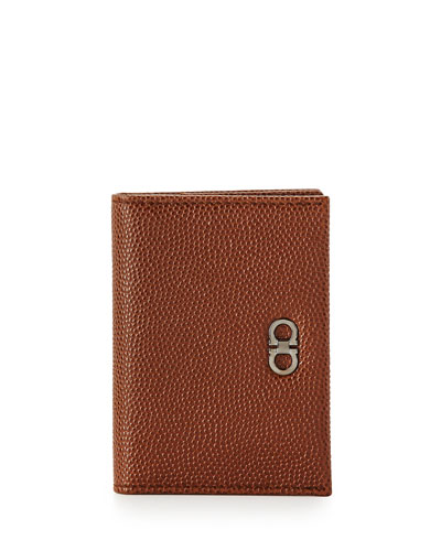 Pebbled Bi-Fold Card Case, Brown