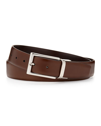 Matte Reversible Belt, Brown/Cognac