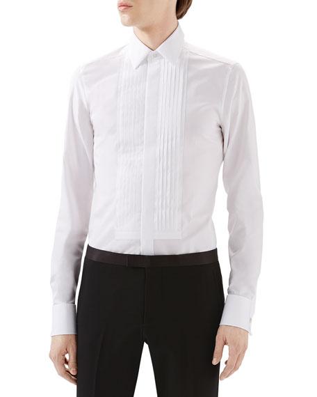 Gucci White Tux Pleated Bib Shirt w/ French Cuffs