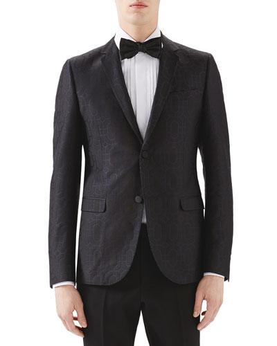 Black Emerald Pattern Jacquard Evening Jacket