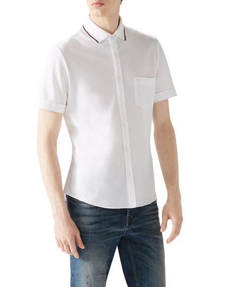 Gucci White Tipped Short-Sleeve Pique Full Button Down