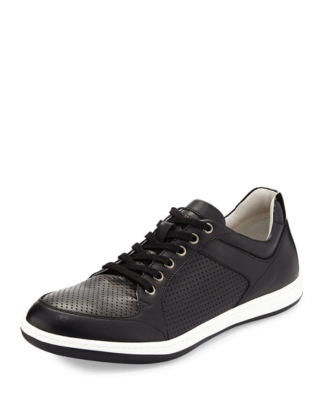 Giorgio Armani Grain Leather Sneaker, Black