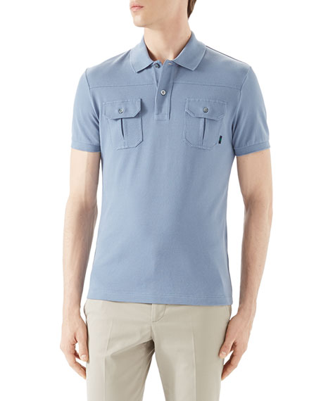 Gucci Light Blue Short-Sleeve Pique Military Polo w/