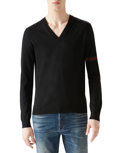 Black V-Neck Sweater w/ Green/Red/Green Arm Band