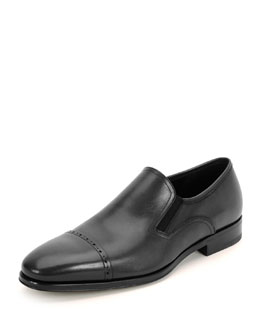 Mira Calfskin Cap-Toe Slip-On Loafer, Black