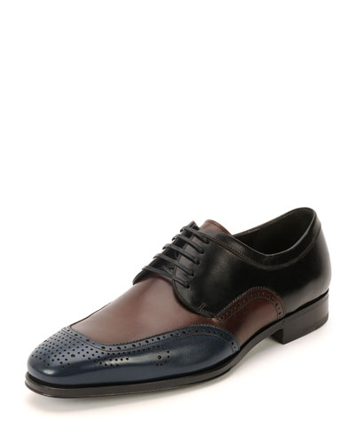Salvatore Ferragamo	 Murano Perforated Oxford Shoe, Blue/Burgundy/Black