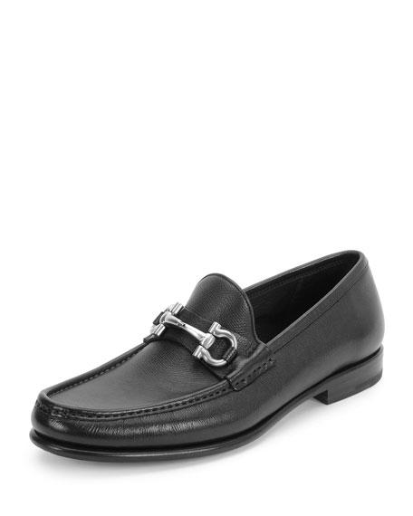 Salvatore Ferragamo Mason Textured Calfskin Gancini Loafer, Black