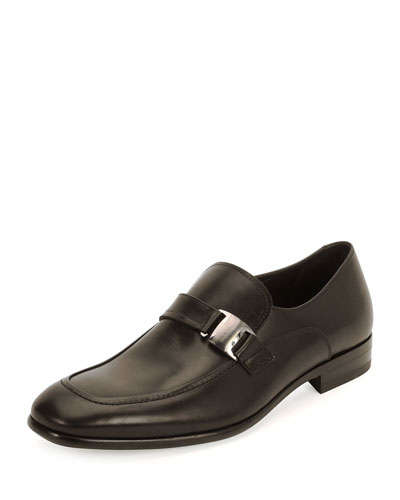 Mattia Side-Buckle Loafer, Brown