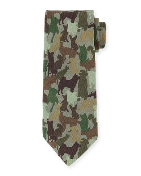 Etro Silk Dog Camo-Print Tie, Green Multi