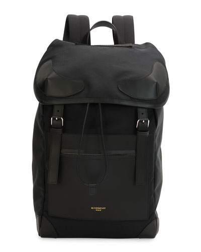 Canvas Drawstring Backpack, Black