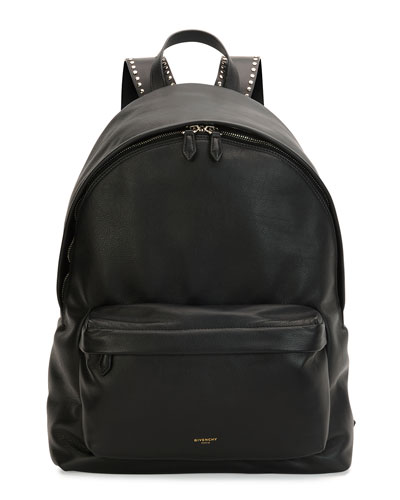 Studded Leather Backpack, Black