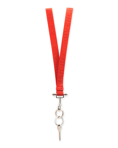 Lanyard Key Ring Necklace, Red