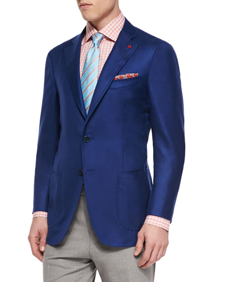 Isaia Cashmere-Silk Blazer, Woven Box Check Dress Shirt,