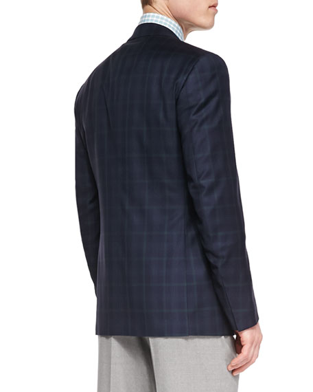 Image 2 of 2: Plaid Two-Button Jacket, Navy/Green