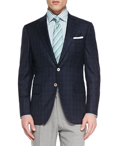 Plaid Two-Button Jacket, Navy/Green