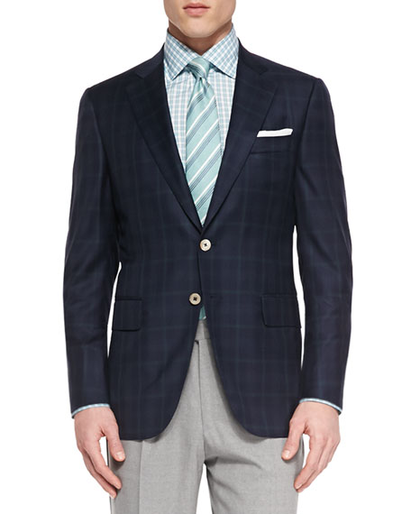 Image 1 of 2: Plaid Two-Button Jacket, Navy/Green