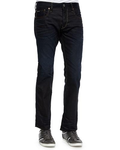 Dark Wash Straight-Leg Jeans, Medium Blue