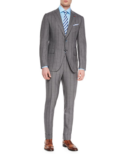 Shadow Stripe Two-Piece Suit, Light Gray