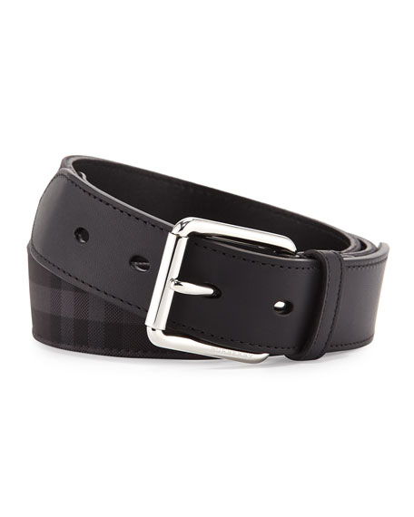 Burberry Horseferry Check Belt, Charcoal/Black