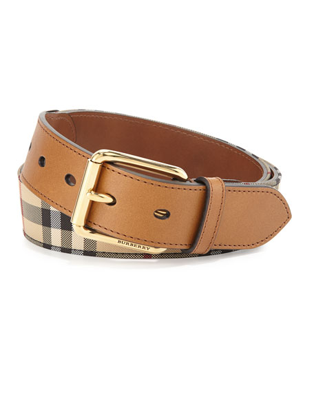 Burberry Mark Horseferry Buckle Belt, Tan and Matching