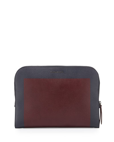 Colorblock Leather Portfolio, Bordeaux