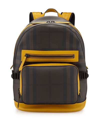 Smoke Check Backpack with Leather Trim, Yellow/Black/Brown