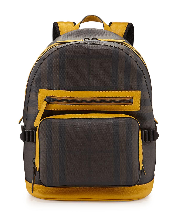 dc0e62de291b Burberry Smoke Check Backpack with Leather Trim