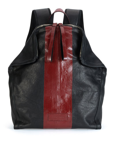 Two-Tone De Manta Leather Backpack, Black/Red