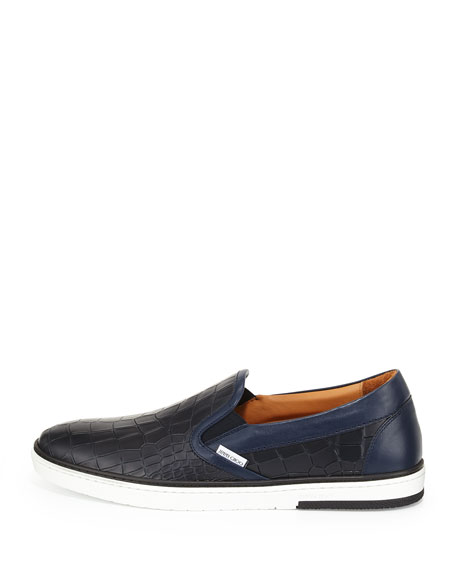 Men's Croc-Embossed Leather Skate Sneaker, Navy