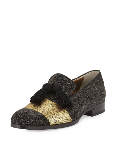 Metallic Gold Tassel Loafer, Black