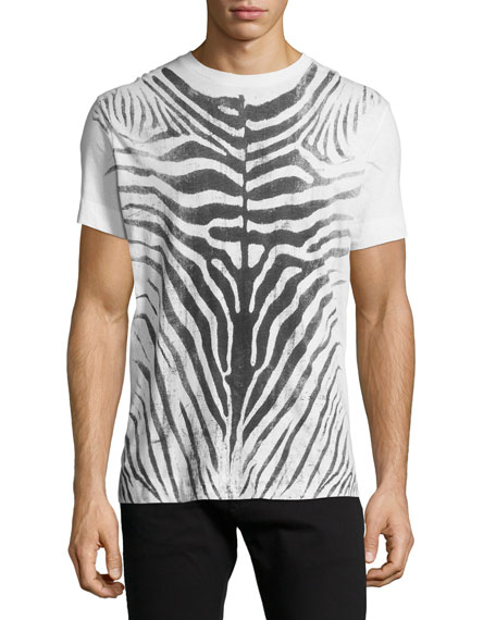 Diesel Zebra Water-Print Knit Tee, Off-White