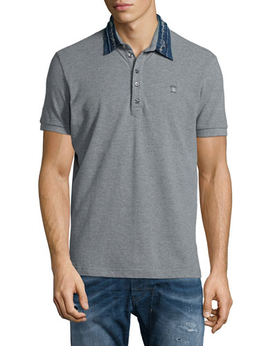 Denim-Collar Short-Sleeve Polo Shirt, Felt Gray