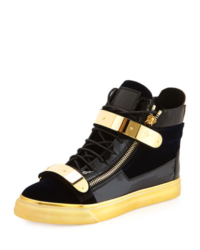 Men's Velvet High-Top Sneaker, Navy/Gold