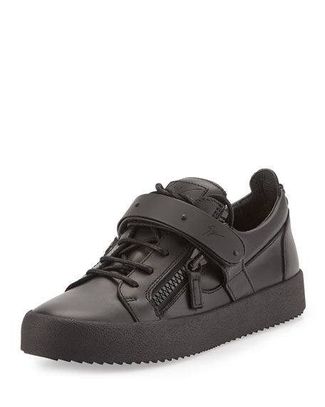Giuseppe Zanotti Men's Matte Zip & Buckle Low-Top Sneaker, Black