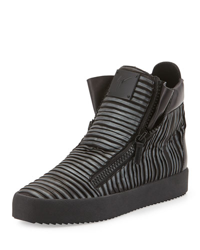 Men's Gunmetal Pleated High-Top Sneaker, Graphite