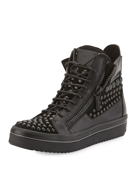 Giuseppe Zanotti Men's Beaded Leather High-Top Sneaker, Black