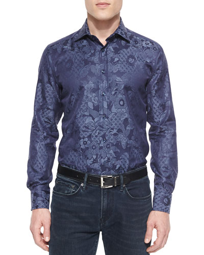Tonal Floral-Butterfly Print Jacquard Sport Shirt, Blue