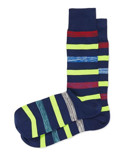 Neon Twist Stripe Socks, Navy