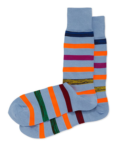 Neon Twist Stripe Socks, Light Blue