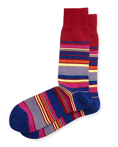 Nautical Stripe Socks, Red