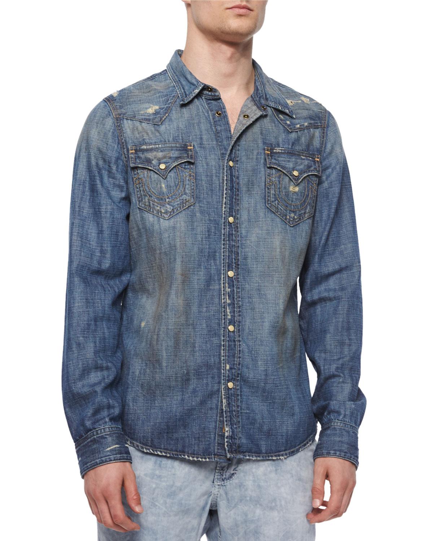 e7626624848b True Religion Jake Western-Style Denim Shirt   Neiman Marcus